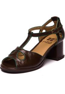 Sandalia Mzq Em Couro Grace Kelly - Chocolate / Esmeralda 5854