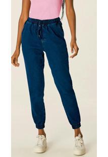 Calça Azul Escuro Jogger Em Jeans Estonado
