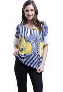 Blusa 101 Resort Wear Tunica Estampa Flor Amarelo Azul Branco