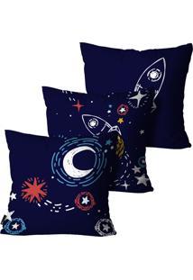 Kit Mdecore Com 3 Capas Para Almofada Infantil Foguete Azul 55X55Cm - Azul - Dafiti