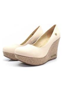 Scarpin Barth Shoes Land Juta Ouro Lona - Bege