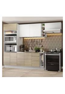 Cozinha Completa Madesa Stella 290002 Com Armário E Balcão Branco/Saara Cor:Branco/Saara/Branco