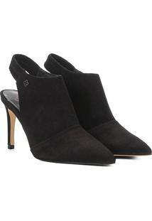 Ankle Boot Chanel Couro Capodarte Salto Fino - Feminino-Preto
