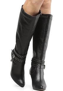 Bota Couro Cano Alto Shoestock Tira Hotfix Feminina - Feminino-Preto