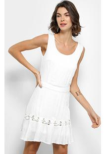 6fce6d169 ... Vestido Holin Stone Evasê Curto Regata Ilhós Amarração - Feminino-Branco