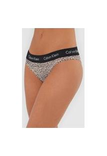 Calcinha Calvin Klein Underwear Tanga Onça Bege