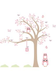 Adesivo De Parede Infantil Árvore Coruja Baby 128X143Cm