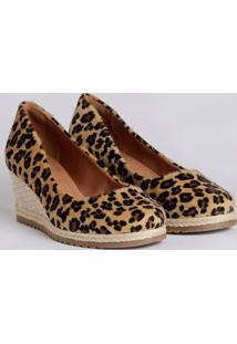 Sapato Espadrille Anabela Feminina Bebecê Onça