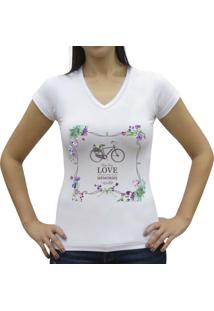 Camisa Baby Look Casual Sport Love Memories Branco
