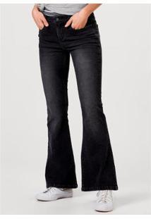Calça Jeans Hering Flare Com Lavação Estonada Feminina - Feminino-Preto