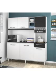 Cozinha Compacta 6 Portas 1 Gaveta Bárbara 439 Branco/Preto - Poquema