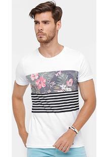 Camiseta Rock & Soda Floral Listras Masculina - Masculino