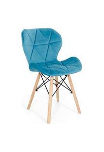 Cadeira Charles Eames Eiffel Slim Veludo Estofada - Turquesa