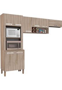 Cozinha Compacta Ametista 8 Portas Composição 4 Nogal - Kit'S Paraná