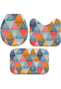 Jogo Tapate Love Decors Para Banheiro Geometrico Único Azul