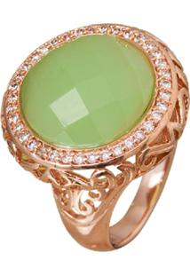 Anel Le Diamond Pedra Jade Verde