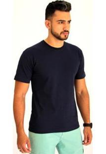 Camiseta Pau A Pique Básica Masculina - Masculino-Marinho