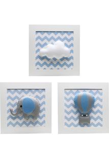 Trio De Quadros Elefante Balão Quarto Bebê Infantil Potinho De Mel Azul