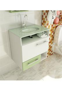 Gabinete Para Banheiro 60 Cm Com 2 Peças Linea 17 Branco E Verde Tomdo