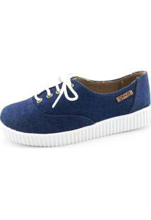 Tênis Creeper Quality Shoes Jeans Escuro Sola Branca
