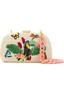 Serpui Clutch De Palha Bordada - Neutro