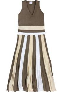 Vestido Marrom Midi Em Tricô
