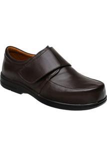 Sapato Conforto Couro Doctor Pé Velcro Masculino - Masculino-Café