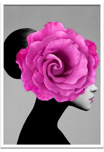 Quadro 60X90Cm Mary Mulher Com Flor Rosa Nórdico Moldura Branca Com Vidro