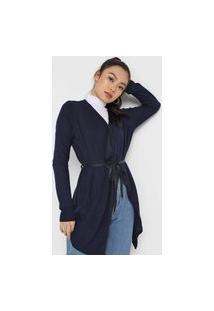 Cardigan Queens Paris Basic Amarração Azul-Marinho