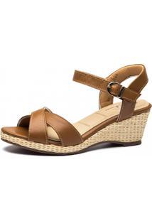 Sandália Anabela Doctor Shoes 613 Caramelo