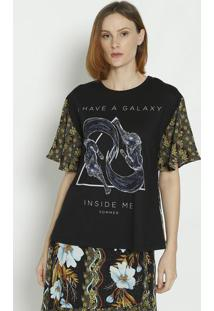 Camiseta Floral- Preta & Verde- Sommersommer