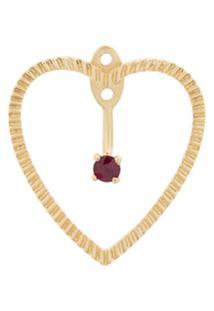 Yvonne Léon Par De Brincos 'Heart' De Ouro 18K Com Rubis - Dourado