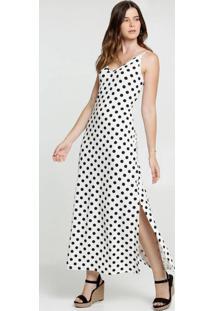 Vestido Feminino Longo Estampa Bolinhas Alças Finas