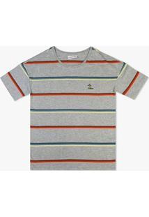 Camiseta Lacoste Listrada Cinza - Kanui