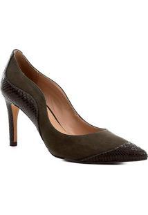 Scarpin Couro Shoestock Salto Alto Curves - Feminino-Musgo