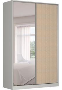 Guarda-Roupa Solteiro Com Espelho Tunas Iii 2 Pt 3 Gv Branco E Noce