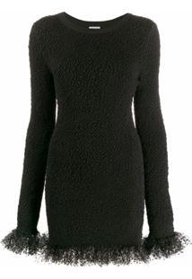 Saint Laurent Vestido Com Tule Na Barra - Preto