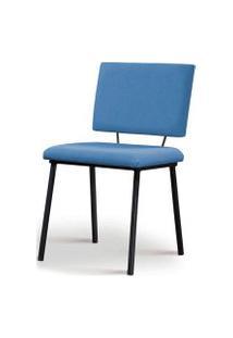 Cadeira Antonella Aço Preto Assento/Encosto Estofado Linho Azul Jeans Daf
