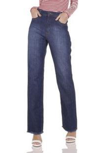 Calça Jeans Areazul Wide Feminina - Feminino-Azul