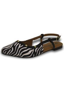 Sapatilha Salome Aniz Zebra Com Detalhes Em Preto