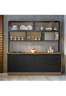 Cozinha Compacta Cook I 6 Pt 3 Gv Castanho E Preta