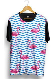 Camiseta Bsc Flamingo Full Print - Masculino-Preto