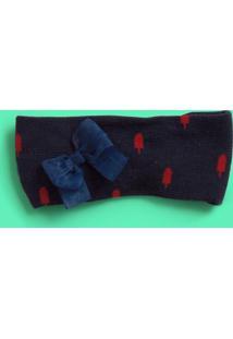 Faixa De Cabelo Com Laã§O - Azul Marinho & Vermelhapuket