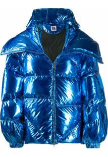 Bacon Double B Metallic Puffer Jacket - Azul