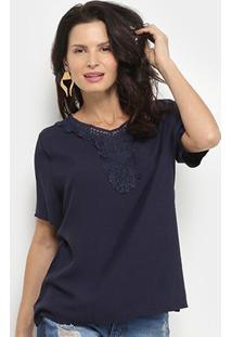 Blusa Aidi Bata Guipir Feminina - Feminino-Azul Escuro