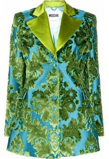 Moschino Blazer Tapestry De Jacquard - Azul