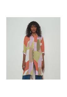 Camisa Alongada Manga Curta Lisa Estampa Geométrica | Marfinno | Multicores | P