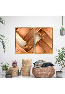 Quadro Love Decor Com Moldura Chanfrada Wood Dourado - Grande