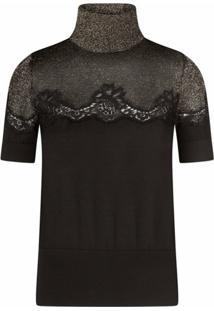Dolce & Gabbana Blusa Gola Alta De Cashmere E Lurex - Preto