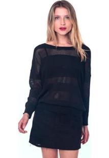 Blusa Tricot Listrada - Lofty Style Feminina - Feminino-Preto